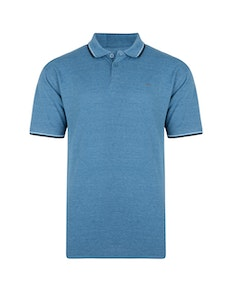 KAM Plain Tipped Polo Shirt Denim