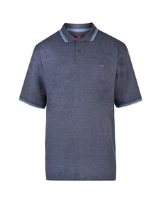 KAM Plain Tipped Polo Shirt Navy