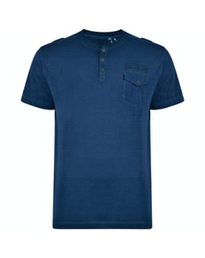 KAM Washed Grandad T-Shirt Navy