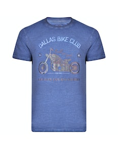 KAM Dallas Bike Club Printed T-Shirt Blue