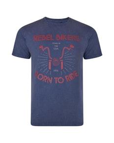 KAM Rebel Biker Acid Wash T-Shirt Indigo