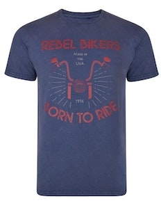 KAM Rebel Biker Acid Wash T-Shirt Indigo