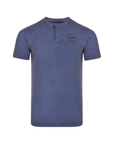 KAM Grandad Neck Bronx T-Shirt Indigo