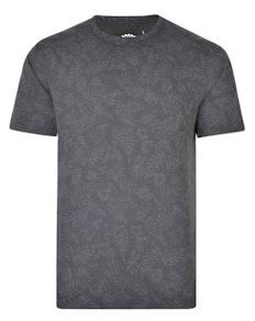 KAM Floral Print Slub T-Shirt Charcoal