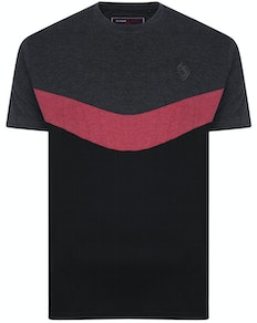 KAM Contrast Panel Chevron T-Shirt Charcoal