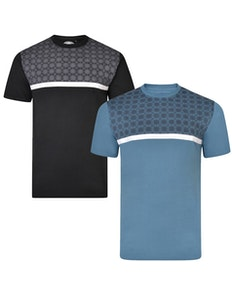 KAM Twin Pack Chequered T-Shirts Black/Denim