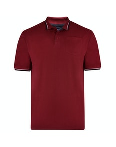 KAM Tipped Polo Shirt Burgundy