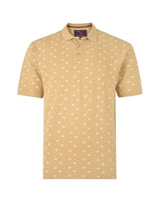 KAM Palm Printed Polo Shirt Stone