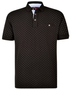 KAM Dobby Print Polo Shirt Black