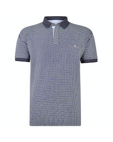 KAM Dobby Printed Polo Shirt Navy