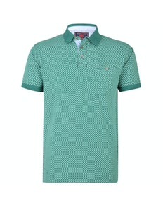 KAM Dobby Printed Polo Shirt Teal