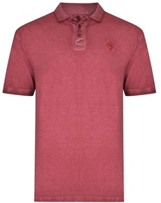 KAM Acid Wash Polo Shirt Cordovan