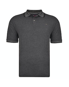 KAM Dobby Weave Slub Polo Shirt Black