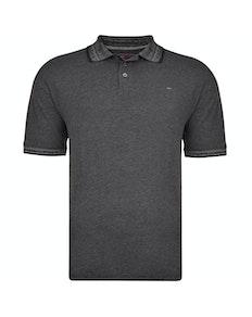 KAM Dobby Weave Slub Polo Shirt Black