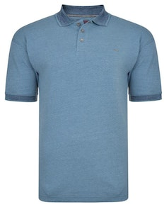 KAM Dobby Weave Slub Polo Shirt Denim