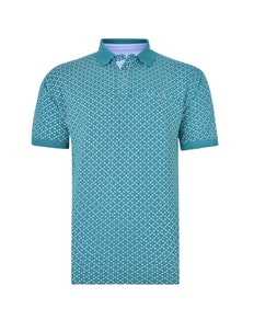 KAM Dobby Print Pique Polo Shirt Dark Teal