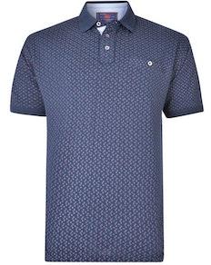 KAM Dobby Print Pique Polo Shirt Navy