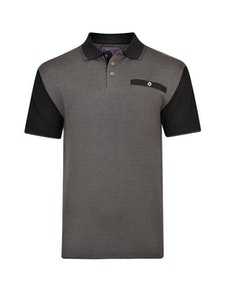 KAM Dobby Weave Jersey Polo Shirt Black