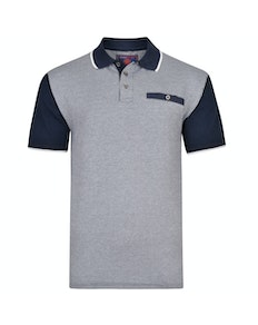 KAM Dobby Weave Jersey Polo Shirt Navy