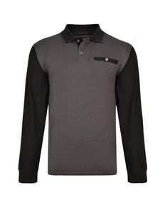 KAM Long Sleeve Dobby Weave Polo Black
