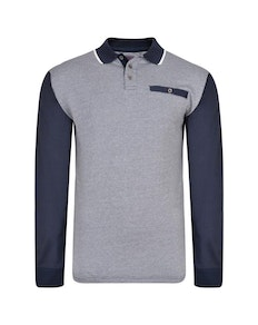 KAM Long Sleeve Dobby Weave Polo Navy