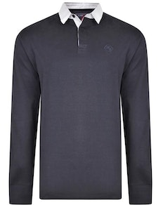 KAM Contrast Collar Polo Shirt Navy