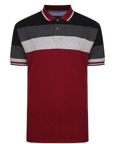 KAM Contrast Stripe Polo Shirt Grey