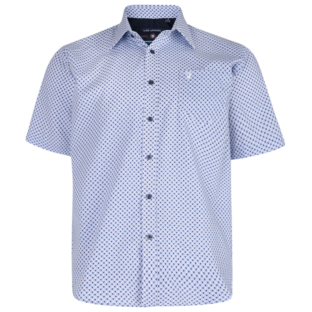 KAM Dobby Short Sleeve Shirt Navy