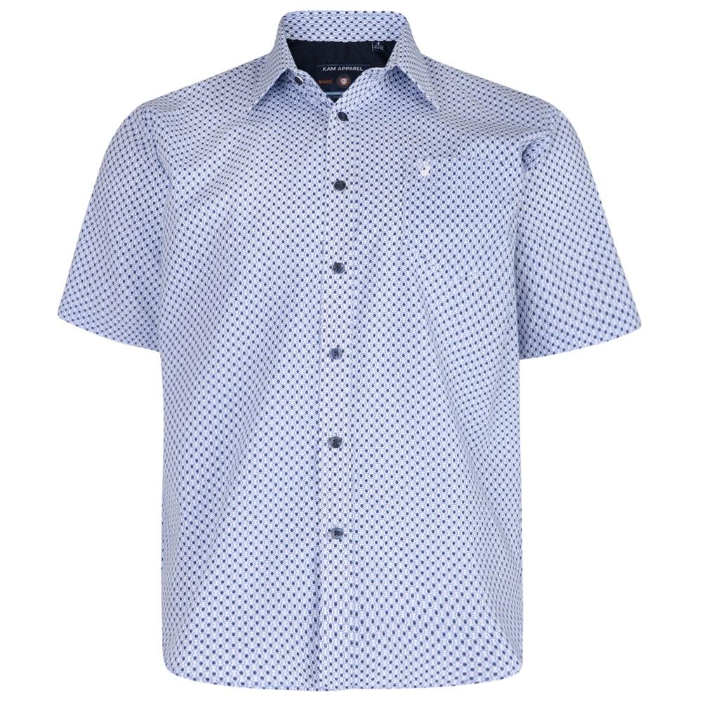 KAM Dobby Short Sleeve Shirt Navy