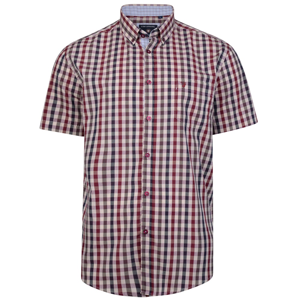 KAM Short Sleeve Retro Check Shirt Rose