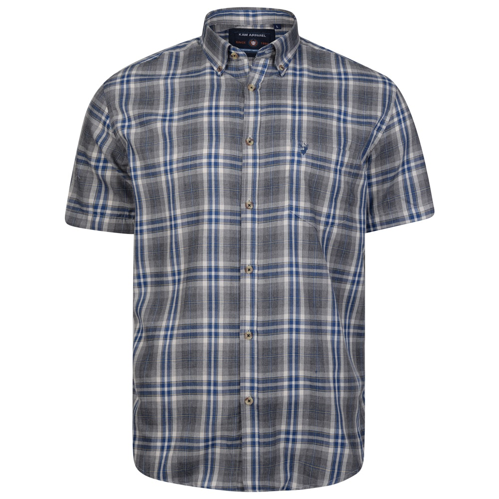 KAM Short Sleeve Flannel Shirt Grey