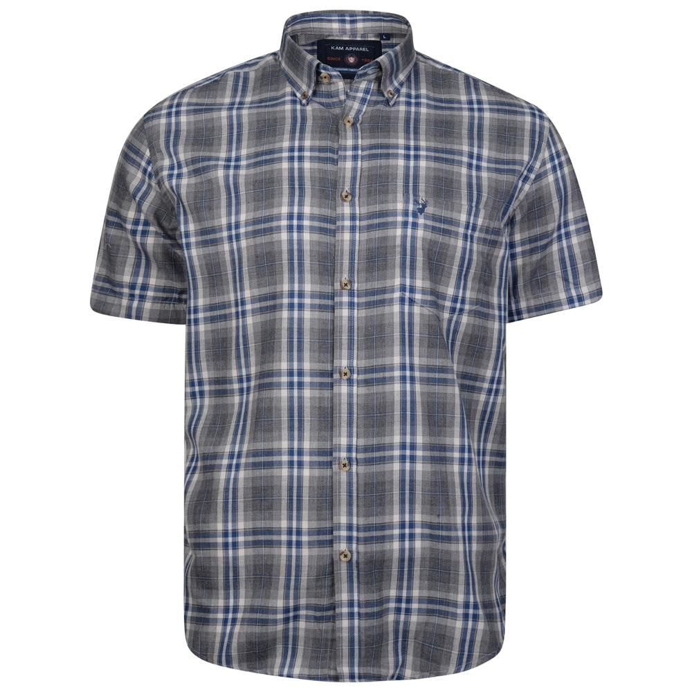 KAM Short Sleeve Flannel Shirt Grey
