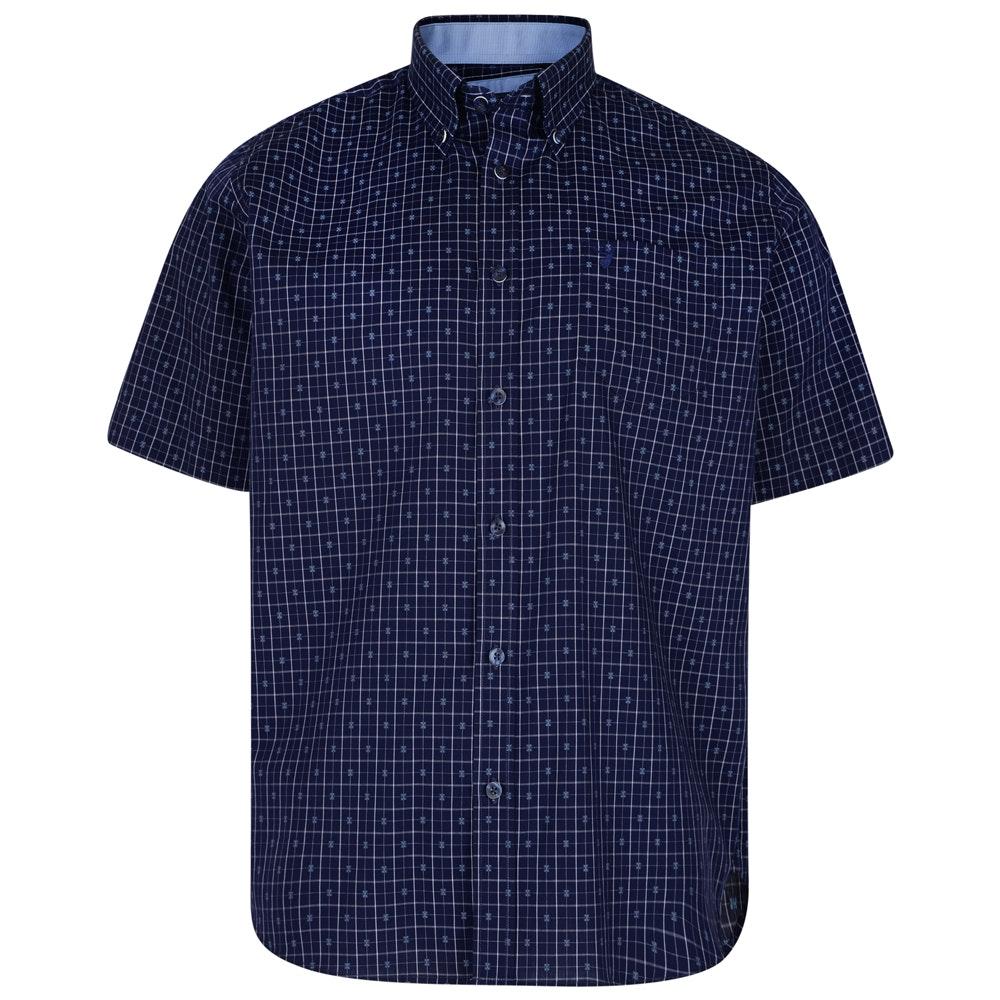 KAM Check/Dobby Short Sleeve Shirt Blue