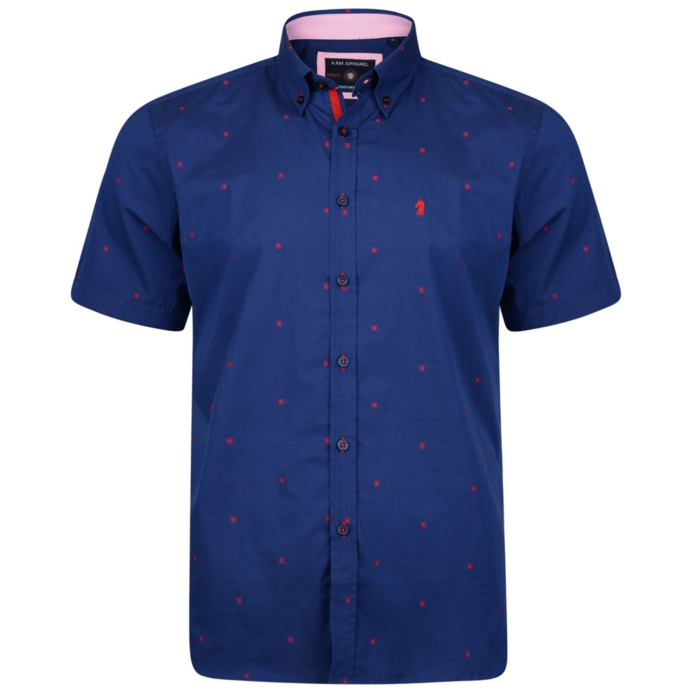 KAM Short Sleeve Dobby Shirt Blue