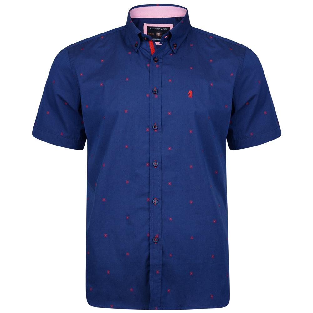 KAM Short Sleeve Dobby Shirt Blue