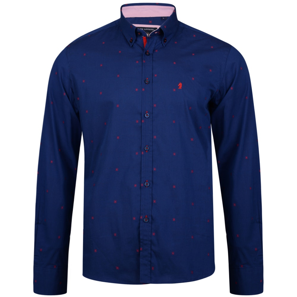 KAM Long Sleeve Dobby Shirt Blue