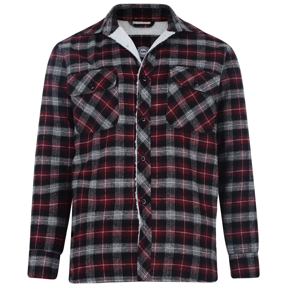 KAM Sherpa Lined Shirt Wine