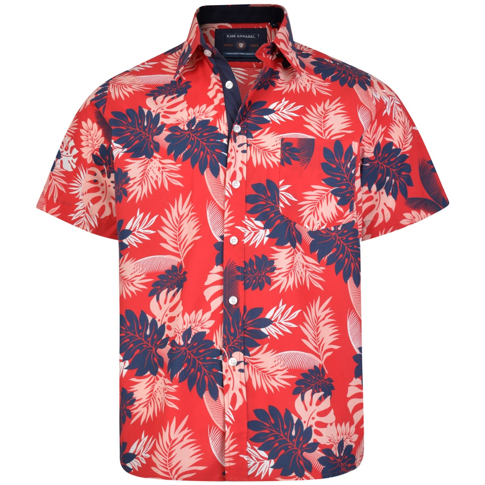 KAM Floral Print Short Sleeve Shirt Red