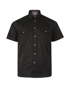 KAM Retro Stretch Short Sleeve Shirt Black