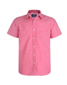 KAM Casual Slub Short Sleeve Shirt Raspberry