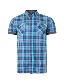 KAM Retro Check Short Sleeve Shirt Burgundy