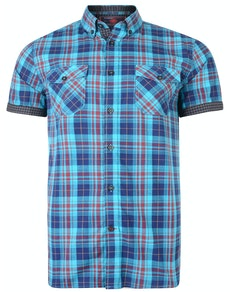 KAM Retro Style Check Shirt Burgundy