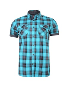KAM Retro Check Short Sleeve Shirt Teal
