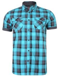 KAM Retro Style Check Shirt Teal