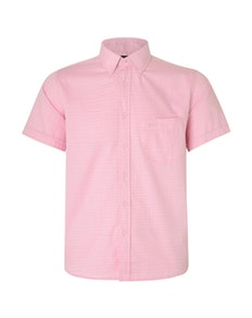 KAM Herringbone Short Sleeve Shirt Pink