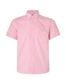 KAM Herringbone Short Sleeve Shirt Pink