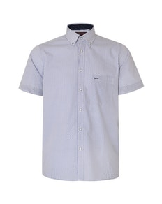 KAM Dobby Print Short Sleeve Shirt Blue