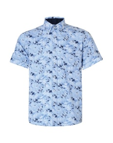 KAM Short Sleeve Floral Print Shirt Blue