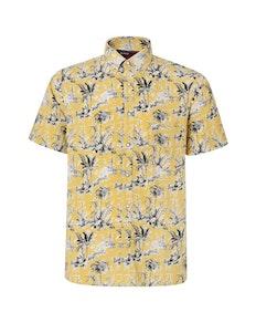KAM Short Sleeve Lightweight Floral Print Shirt Sand