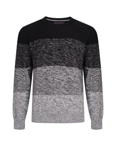 KAM Ombre Long Sleeve Knit Jumper Black